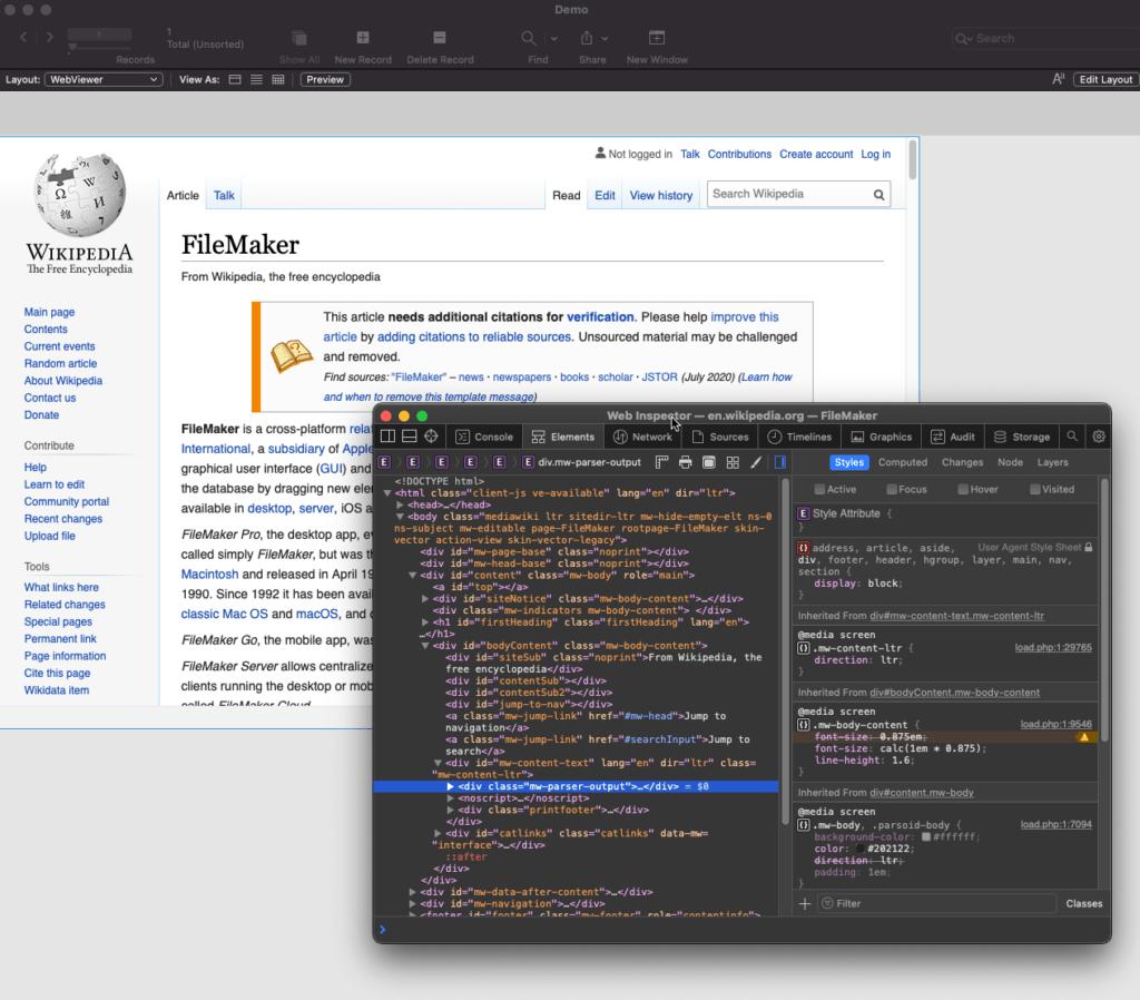 Web development tools shown in FileMaker