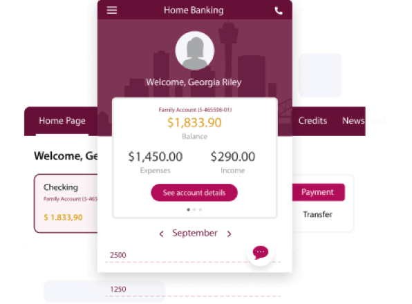 Sample interface for an OutSystems banking app