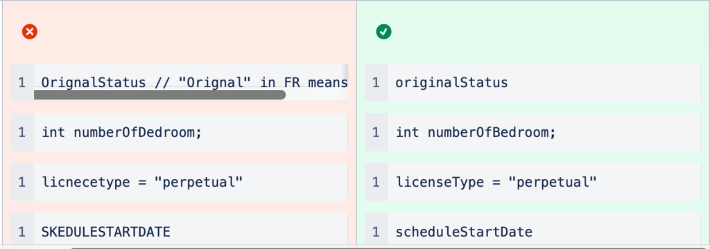Example of a naming convention with a spelling error