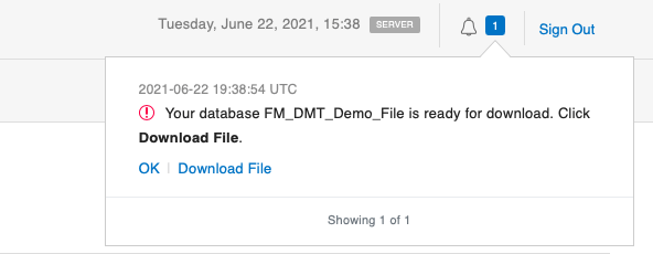 Notification area of the FileMaker admin console, where users can download files from FileMaker Server 19