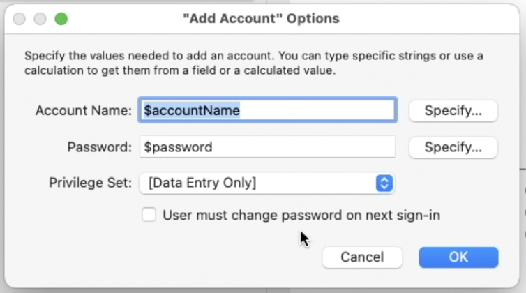 FileMaker card window showing option to make user change password upon sign-in